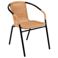 Flash Furniture Black Rattan Indoor-Outdoor Restaurant / Patio Stack Chair (2-pack) - 2-TLH-037-BGE-GG
