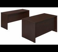 Bush Series C Elite Mocha Cherry 60W x 30D Desk Shell with Credenza - SRE120MR