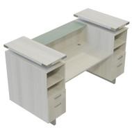 Mayline Safco Mirella Reception Desk with Glass Counter Top White Ash - MRRD90WAH