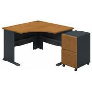 Bush Series A Corner Desk with 2 Drawer Mobile File Cabinet Natural Cherry - SRA036NCSU