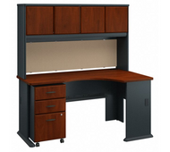 Bush Series A 60W Right Corner Desk with Hutch and 3 Drawer Pedestal - SRA079HCSU