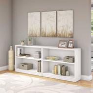 Bush Universal Bookcases Collection 2 Shelf Bookcase Set of 2 Pure White - UB001PW