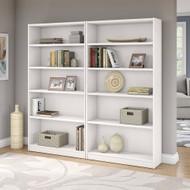 Bush Universal Bookcases Collection 5 Shelf Bookcase Set of 2 Pure White - UB003PW