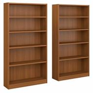 Bush Universal Bookcases Collection 5 Shelf Bookcase Set of 2 Royal Oak - UB003RO