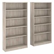 Bush Universal Bookcases Collection 5 Shelf Bookcase Set of 2 Washed Gray - UB003WG