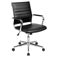 Flash Furniture Mid-Back Black LeatherSoft Contemporary Ribbed Executive Swivel Office Chair- BT-20595M-1-BK-GG
