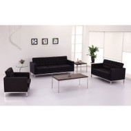 Flash Furniture Lacey Series Black LeatherSoft Sofa, Loveseat and Chair Set - ZB-LACEY-831-2-SET-BK-GG