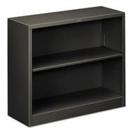 HON Metal Bookcase, Two-Shelf, 34-1/2w x 12-5/8d x 29h, Charcoal - S30ABCS