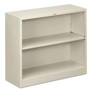 HON Metal Bookcase, Two-Shelf, 34-1/2w x 12-5/8d x 29h, Light Gray - S30ABCQ