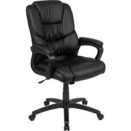 Flash Furniture LeatherSoft Swivel Office Chair Black - CX-1179H-BK-GG
