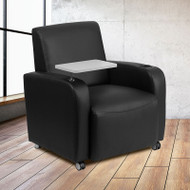 Flash Furniture Black LeatherSoft Guest Chair with Tablet and Casters - BT-8217-BK-CS-GG