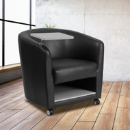 Flash Furniture Black LeatherSoft Guest Chair with Tablet Arm, Casters and Storage - BT-8220-BK-CS-GG