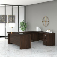 "Bush Business Furniture Studio C Bow Front U-Shaped Desk Package 72"" Black Walnut - STC004BWSU"