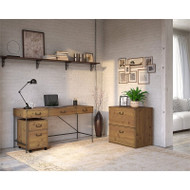 Bush Furniture Ironworks 60W Writing Desk with File Cabinets Vintage Golden Pine - IW016PG