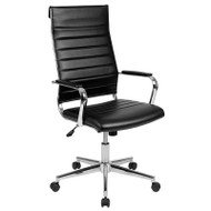 Flash Furniture High Back Black LeatherSoft Ribbed Executive Office Chair - BT-20595H-1-BK-GG