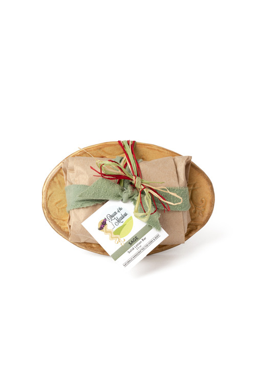 Solid Lotion Bar & Unique Handmade Ceramic Dish Gift Set : Choose your favorite Solid Lotion Bar