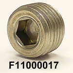 """F11000017 1/8-27 x 0.30(19/64"""") NPT, SS316, STAINLESS SOCKET HEAD PIPE PLUG, COO:US"""