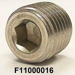 "F11000016, 0.250-18, 1/4-18 x 0.47(15/32"") NPT, SS316, STAINLESS SOCKET HEAD PIPE PLUG"