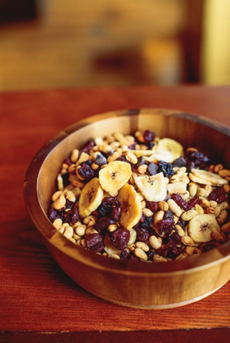 Lightly Salted Tosteds (dry roasted Laura® soybeans) with dried bananas, cranberries, blueberries and dairy free chocolate chips.
