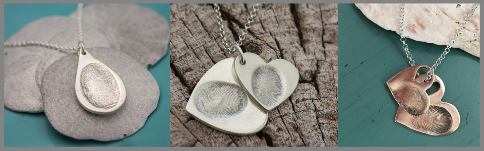 Examples of our Sterling Silver Fingerprint necklaces