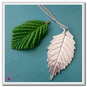 Sterling Silver Beech Leaf Necklace
