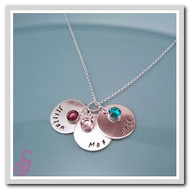 Sterling Silver Names and Stones Necklace - three disc version with three birthstones