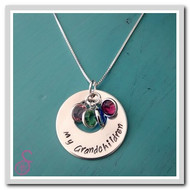 A Sterling Silver hand-stamped Grandmother Necklace with three birthstones
