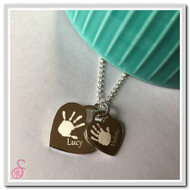 Double Hand Print Tiffany-style Necklace