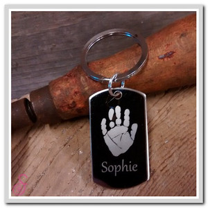 Single stainless steel handprint Keychain