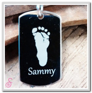 Stainless steel single footprint keychain
