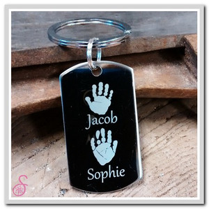 Stainless steel two hand print keychain