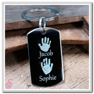 Stainless steel double hand print keychain