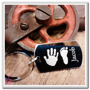 Stainless steel hand and footprint keychain