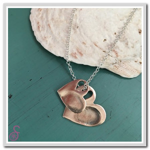 Sterling Silver Double Heart-in-Heart Fingerprint Necklace, shown opened up
