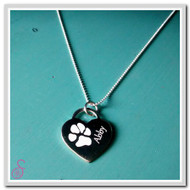 Sterling Silver Single Paw Print Necklace