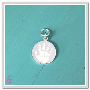 Single Sterling Silver Handprint Charm; front, with jump ring