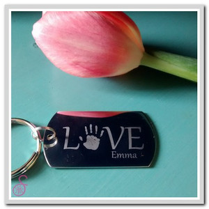 Stainless steel Single Love Handprint Keychain
