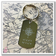 Stainless steel Compass Location Keychain
