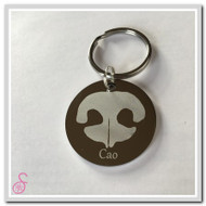 Stainless steel circular dog nose print keychain