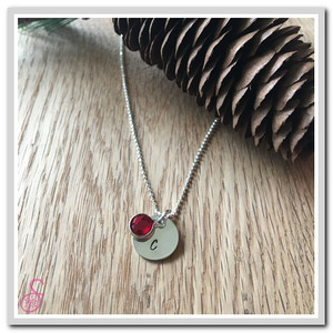 Single disk and birthstone on Initial and Birthstone Necklace