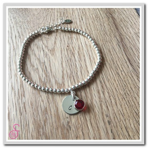 Initial and Birthstone Bracelet