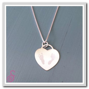 Front view of a Sterling Silver Tiffany-style two footprint necklace