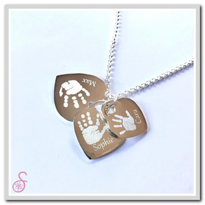 Triple Sterling Silver Tiffany-style handprint necklace