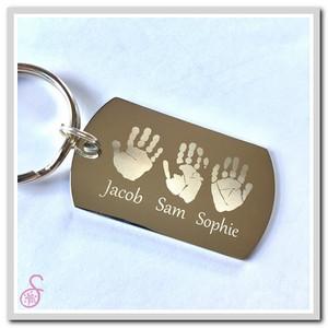 Three Hand or Footprint Keychain