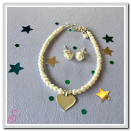 Heart Pearl Bracelet and Stud Pearl Earrings Set