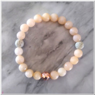 Peach Jade and Lava Diffuser Bracelet