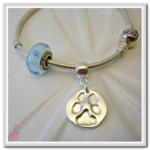 Sterling Silver Pet pawprint charm, with optional Pandora-type attachment