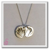 Double Sterling Silver circle-shaped hand/foot print necklace
