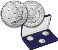 3 Coin Morgan Dollar First-Year-of-Issue Mint Mark Set