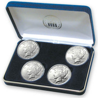 Prohibition Era 4-coin Silver Peace Dollar Set